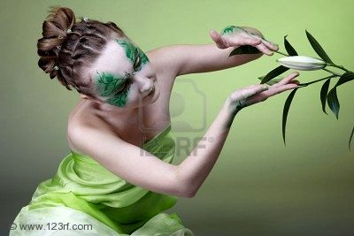 Portrait Of Green Witch Girl With Bodyart, Green Witches