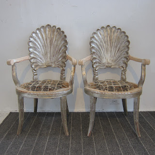 Silver Leafed Shell Back Armchair Pair