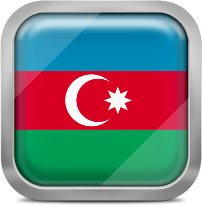 Azerbaijan square flag with metallic frame