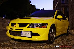 Yellow Mitsubishi Evo
