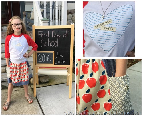tween school fashion apple skirt and diy raglan www.daydreambelieversdesigns.com first day of school photos