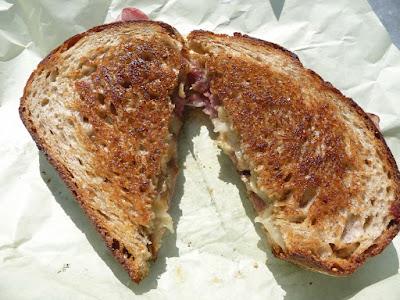 PBJs Grilled, food cart, peanut butter and jelly sandwich, pbj, Spencer sandwich, Campagnola bread, Walnut butter, Caramelized onion, Capicola, Brie, Pear Jam