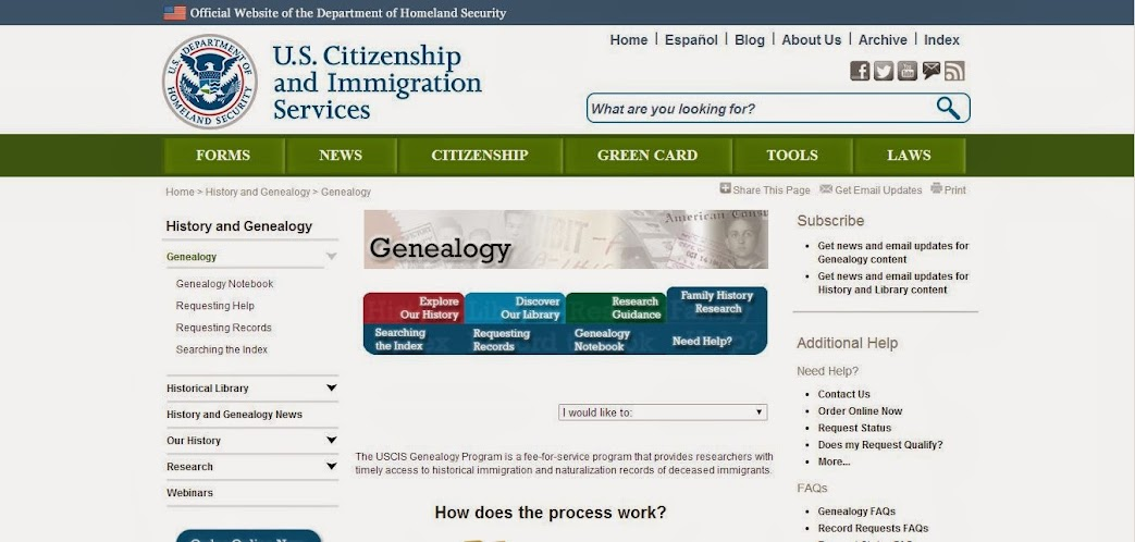 Genealogy Through The United States Citizenship and Imigration Services