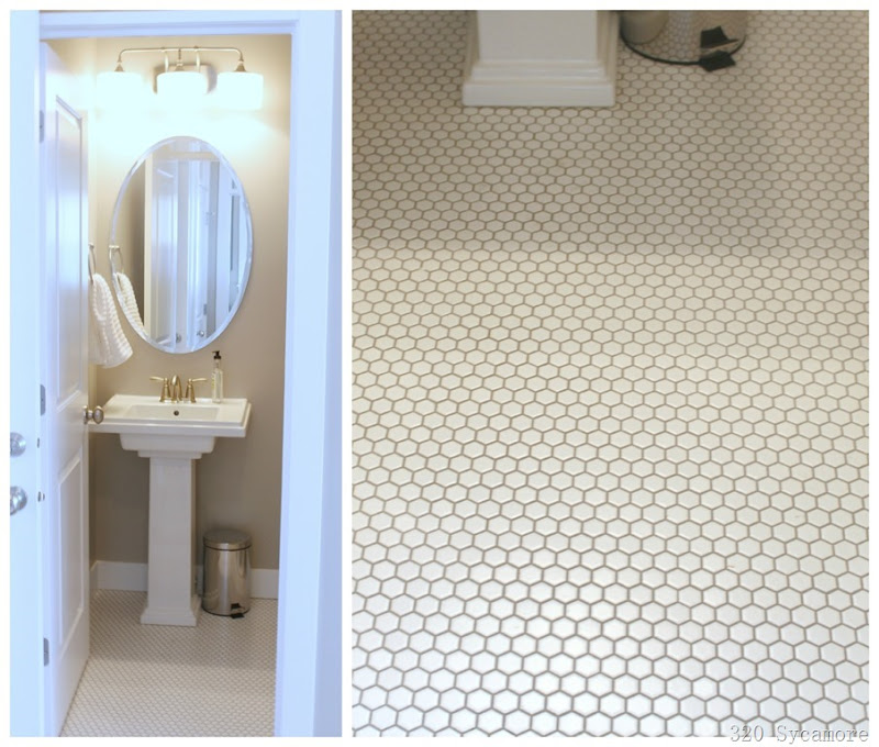 white hex tile in powder room