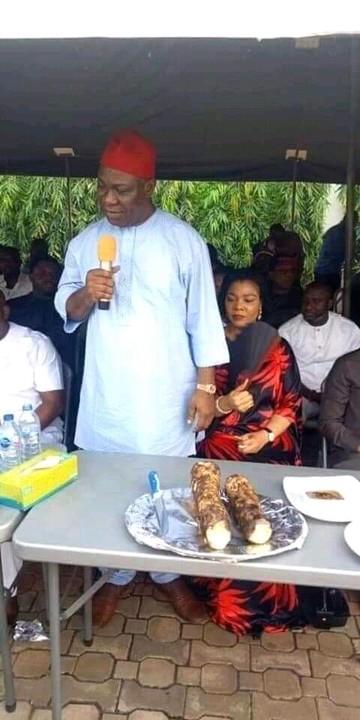 Ike Ekweremadu Eats Local Yam In Enugu (Photos)