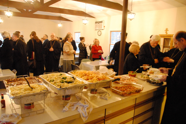 Guests gather for a festive, lenten meal following the celebration of Mission Vespers.