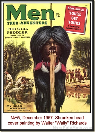 Mens adventure magazines men dec 1957 shrunken head cover by wally richards rev fandeluxe Image collections