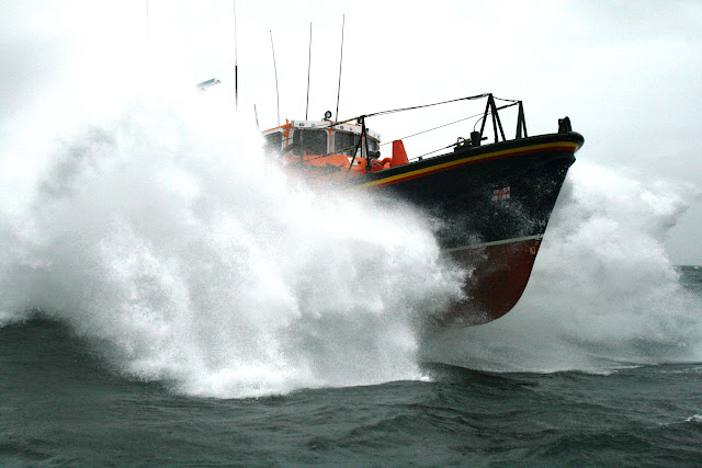 12 June 2011 - ALB coming out of 4.5m seas during exercise in rough weather (southerly force 7, gusting 8, heavy rain). (Photo credit: Rob Inett)