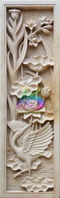 Relief lotus dan angsa batu alam