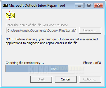 File consistency check using Microsoft Outlook Inbox Repair Tool (www.kunal-chowdhury.com)