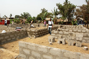 The clinic on day two - interior walls are three bricks high