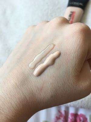L'oreal's Infallible primer and foundation swatch