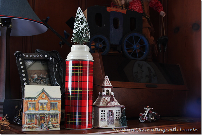 Plaid Thermos with Christmas Tree