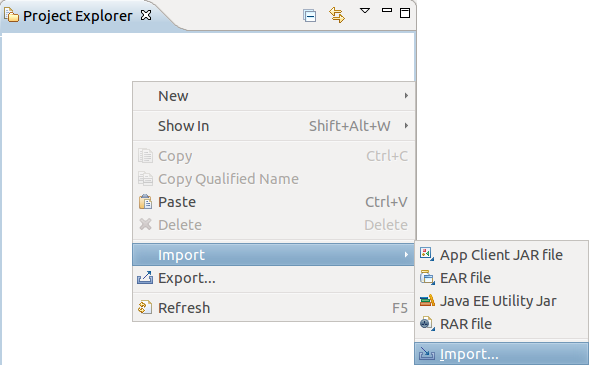 Open Import menu in context menu