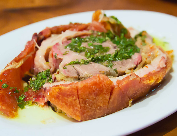 close-up photo of a serving of Porchetta