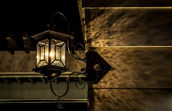 Photo: A photo I took tonight on a bike ride. A lamp on Moulton Tower on campus. I really liked the glass and the light it cast on the tower. An HDR from four exposures, sent to Photoshop HDR Pro from Lightroom, and all edits made in Lightroom.
