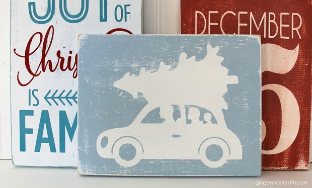 how to make stenciled Christmas signs