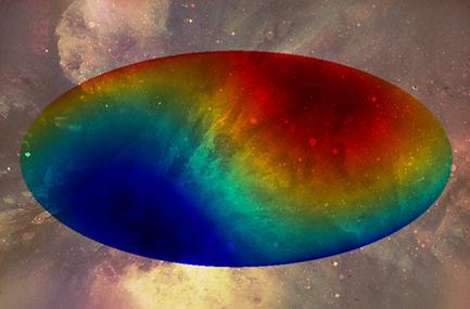 o fundo de micro-ondas cósmico indicando um gradiente pelo Universo
