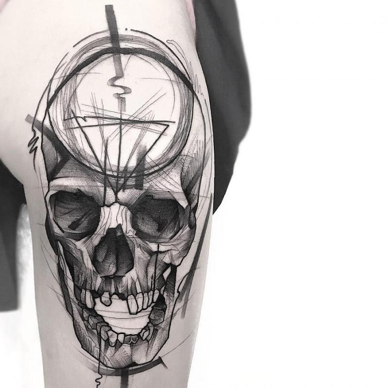 este_chutar_a_bunda_do_crnio_esboço_estilo_de_tatuagem