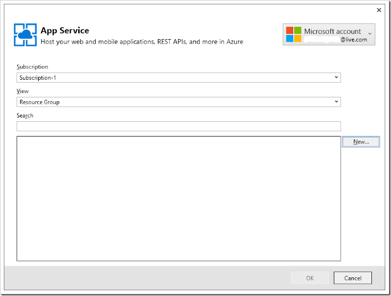 Creating a new resource group for Azure.