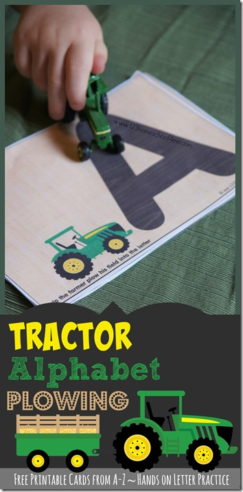 FREE Tractor Alphabet Plowing - kids will have fun practicing tracing letters with these fun farm themed alphabet printables! Preschool, prek, and kindergarten age kids will love these Traceable Letters #alphabet  #preschool #kindergarten