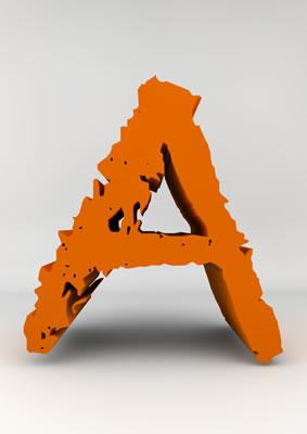 lettre 3D chiffron de craie orange - A - images libres de droit