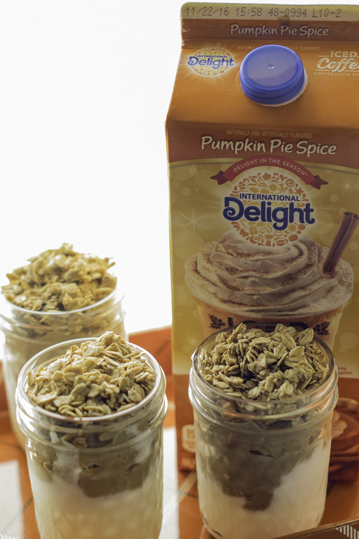 pumpkin parfaits with greek yogurt and granola