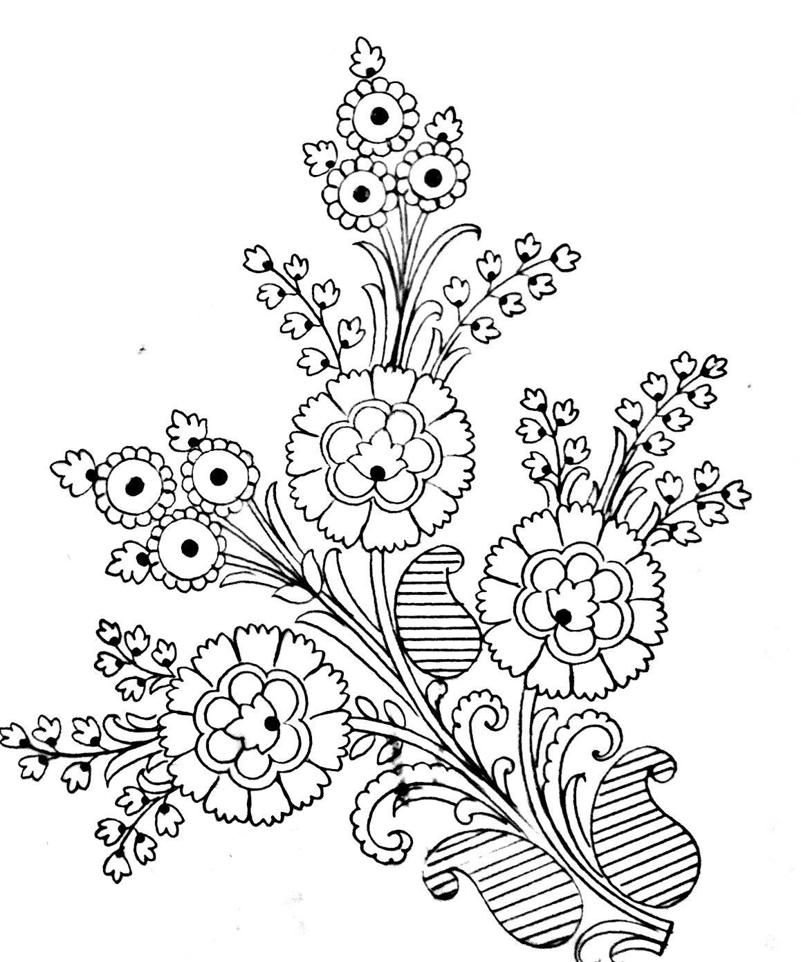 Beautiful flowers designs images free download 2019/2020. Pencil sketch flowers designs pattern of embroidery sarees.
