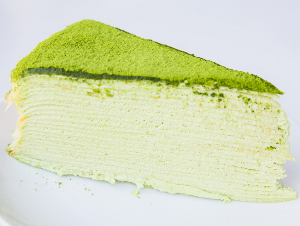photo of a slice of Green Tea Mille Crêpes