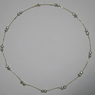 14 K Gold & Seed Pearl Necklace (Medium)