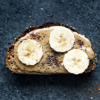Healthy Peanut Butter Banana Toast with Chia Seeds.
