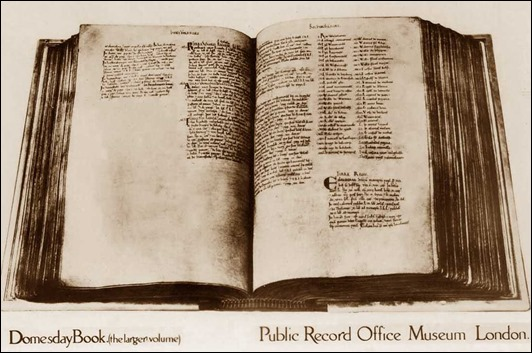 London, Public Record Office Museum, old postcard of The Domesday Book, the larger volume