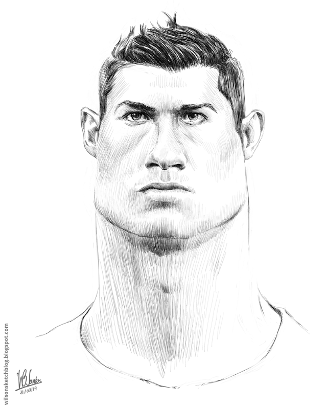Sketch caricature of Cristiano Ronaldo, using Krita.