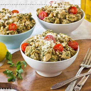 Chicken Salad with Parsley Walnut Pesto