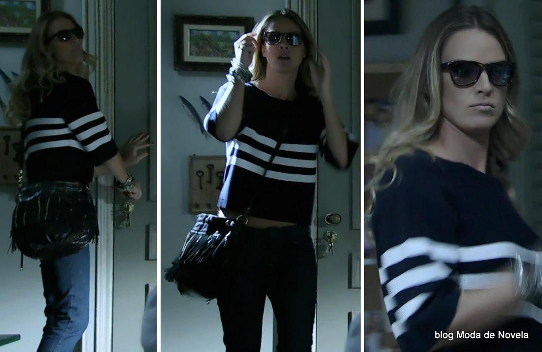 moda da novela Império - look da Érika com óculos escuros dia 24 de setembro