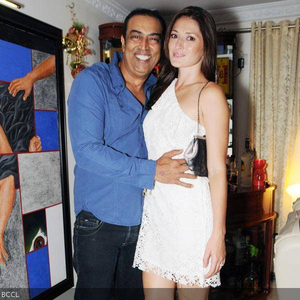 Vindoo Dara Singh and Dina Umarova pose together during Sana Khan's 26th birthday celebrations in Mumbai on August 21, 2013. (Pic: Viral Bhayani)
