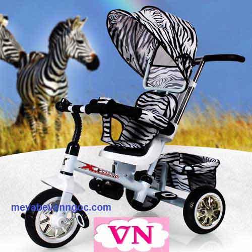 Xe đẩy trẻ em ba bánh B32-2 màu trắng