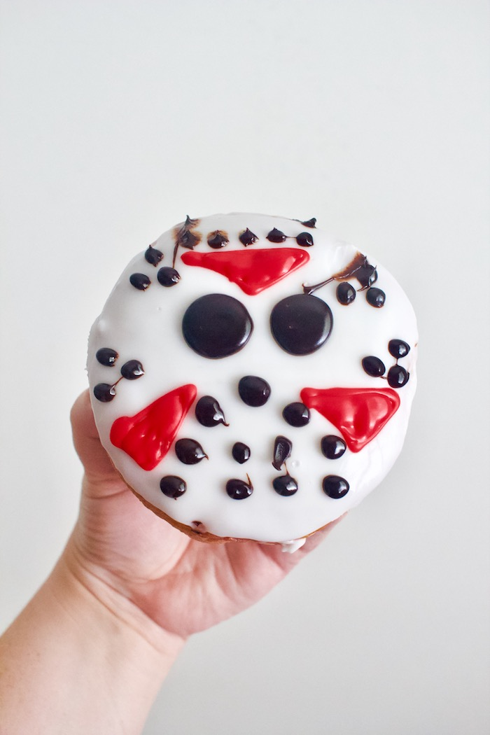 Halloween donut with Jason hockey mask from Friday the 13th