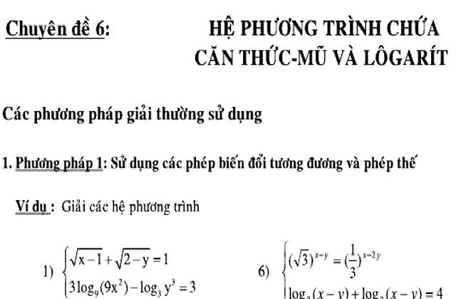 Tổng hợp bài tập phương trình-bất phương trình Lôgarít