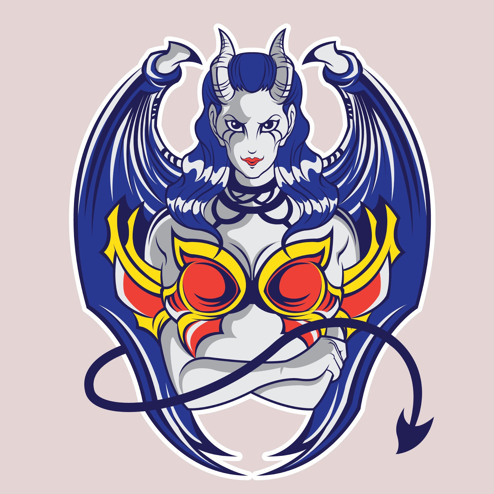 Demon Girl Illustration T Shirt Design Free Download Vector CDR, AI, EPS and PNG Formats