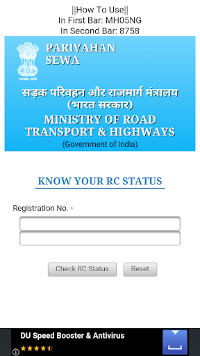 Vehicle Registration info.IND.