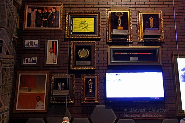 Some of the important achievements of Zaheer Khan, on display at Toss Sports Lounge Koregaon Park