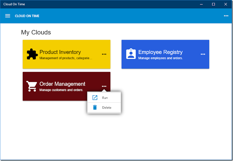 Use the more button to remove registered clouds in native Universal Windows Platform app Cloud On Time.