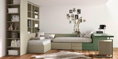 Habitacion juvenil con camas cruzadas
