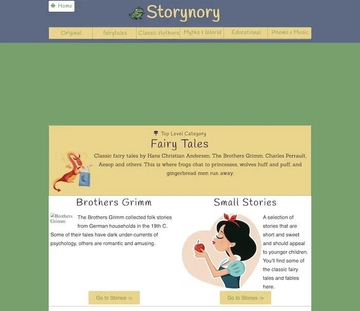 أفضل المواقع المجانية للأطفال كتب Storynory