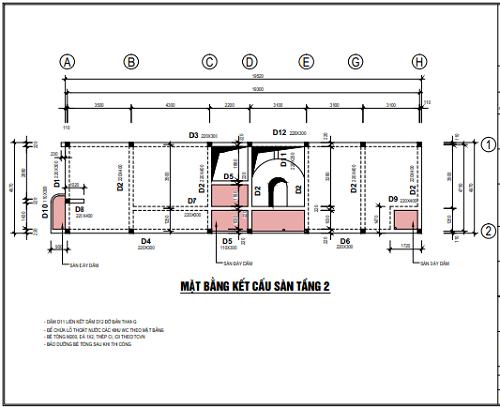 Mặt bằng kết cấu sàn tầng 2