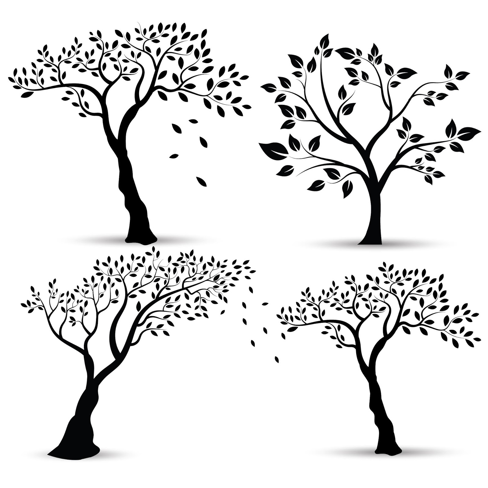 Vector Illustration Set Silhouettes Trees Free Download Vector CDR, AI, EPS and PNG Formats