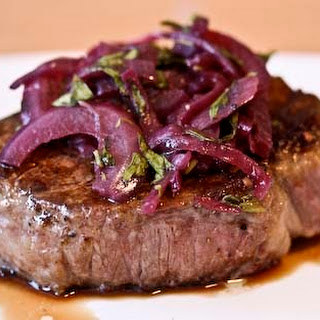 Filet Mignon with Red Onion and Tarragon Relish