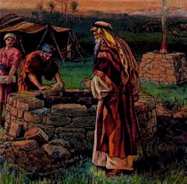 Abraão e os servos dele trabalhando no poço