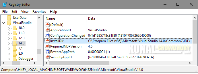 Registry Path to retrieve Visual Studio installation directory (www.kunal-chowdhury.com)